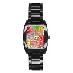 Abstract Polka Dot Pattern Stainless Steel Barrel Watch by BangZart