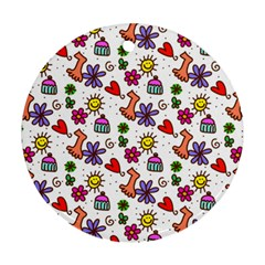Cute Doodle Wallpaper Pattern Ornament (round) by BangZart