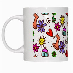 Cute Doodle Wallpaper Pattern White Mugs by BangZart