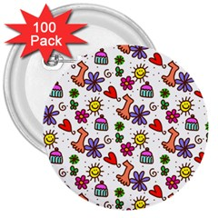 Cute Doodle Wallpaper Pattern 3  Buttons (100 Pack)