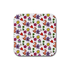 Cute Doodle Wallpaper Pattern Rubber Square Coaster (4 Pack)  by BangZart