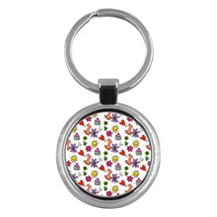 Cute Doodle Wallpaper Pattern Key Chains (round)  by BangZart