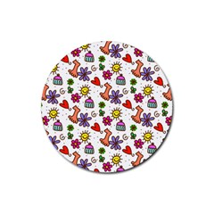 Cute Doodle Wallpaper Pattern Rubber Coaster (round)  by BangZart