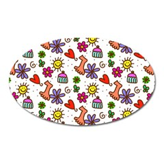 Cute Doodle Wallpaper Pattern Oval Magnet by BangZart