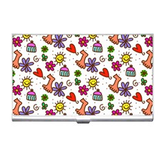 Cute Doodle Wallpaper Pattern Business Card Holders by BangZart