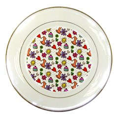 Cute Doodle Wallpaper Pattern Porcelain Plates by BangZart