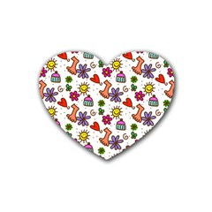 Cute Doodle Wallpaper Pattern Rubber Coaster (heart)  by BangZart
