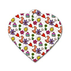 Cute Doodle Wallpaper Pattern Dog Tag Heart (two Sides) by BangZart