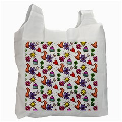 Cute Doodle Wallpaper Pattern Recycle Bag (one Side)