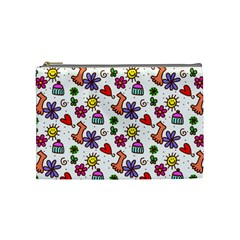 Cute Doodle Wallpaper Pattern Cosmetic Bag (medium)