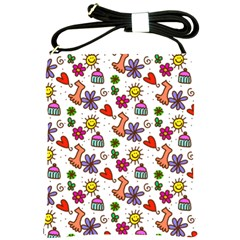 Cute Doodle Wallpaper Pattern Shoulder Sling Bags by BangZart
