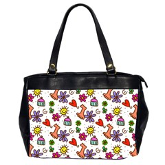 Cute Doodle Wallpaper Pattern Office Handbags (2 Sides)