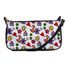 Cute Doodle Wallpaper Pattern Shoulder Clutch Bags by BangZart