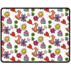 Cute Doodle Wallpaper Pattern Fleece Blanket (medium)  by BangZart