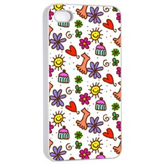Cute Doodle Wallpaper Pattern Apple Iphone 4/4s Seamless Case (white) by BangZart