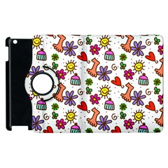 Cute Doodle Wallpaper Pattern Apple Ipad 3/4 Flip 360 Case by BangZart