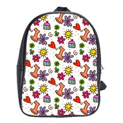 Cute Doodle Wallpaper Pattern School Bags (xl)  by BangZart