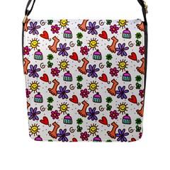 Cute Doodle Wallpaper Pattern Flap Messenger Bag (l)  by BangZart