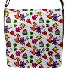 Cute Doodle Wallpaper Pattern Flap Messenger Bag (s) by BangZart