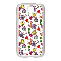 Cute Doodle Wallpaper Pattern Samsung Galaxy S4 I9500/ I9505 Case (white) by BangZart