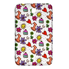 Cute Doodle Wallpaper Pattern Samsung Galaxy Tab 3 (7 ) P3200 Hardshell Case  by BangZart