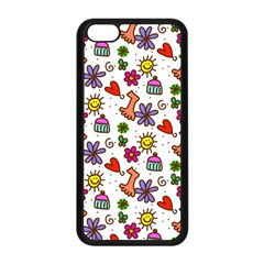 Cute Doodle Wallpaper Pattern Apple Iphone 5c Seamless Case (black) by BangZart