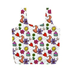 Cute Doodle Wallpaper Pattern Full Print Recycle Bags (m)  by BangZart