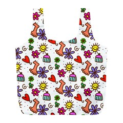 Cute Doodle Wallpaper Pattern Full Print Recycle Bags (l)  by BangZart