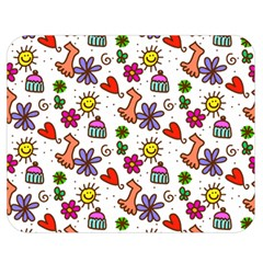 Cute Doodle Wallpaper Pattern Double Sided Flano Blanket (medium)  by BangZart
