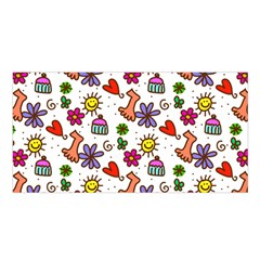 Cute Doodle Wallpaper Pattern Satin Shawl by BangZart