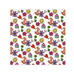 Cute Doodle Wallpaper Pattern Small Satin Scarf (square) by BangZart