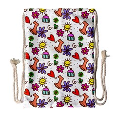 Cute Doodle Wallpaper Pattern Drawstring Bag (large) by BangZart