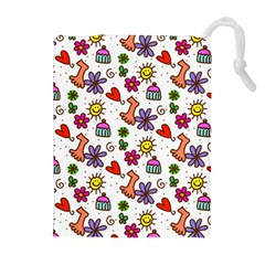Cute Doodle Wallpaper Pattern Drawstring Pouches (extra Large)