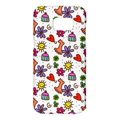Cute Doodle Wallpaper Pattern Samsung Galaxy S7 Edge Hardshell Case by BangZart
