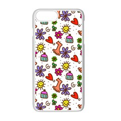 Cute Doodle Wallpaper Pattern Apple Iphone 7 Plus White Seamless Case by BangZart