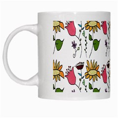 Handmade Pattern With Crazy Flowers White Mugs by BangZart
