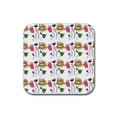 Handmade Pattern With Crazy Flowers Rubber Square Coaster (4 Pack)  by BangZart