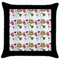 Handmade Pattern With Crazy Flowers Throw Pillow Case (black) by BangZart