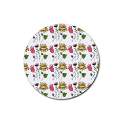 Handmade Pattern With Crazy Flowers Rubber Round Coaster (4 Pack)  by BangZart