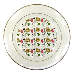 Handmade Pattern With Crazy Flowers Porcelain Plates