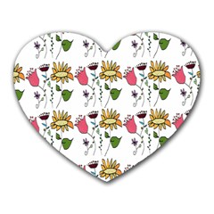 Handmade Pattern With Crazy Flowers Heart Mousepads by BangZart