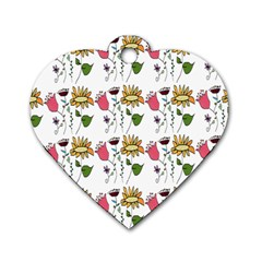 Handmade Pattern With Crazy Flowers Dog Tag Heart (two Sides) by BangZart