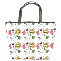 Handmade Pattern With Crazy Flowers Bucket Bags by BangZart
