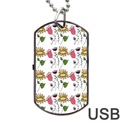 Handmade Pattern With Crazy Flowers Dog Tag Usb Flash (one Side) by BangZart