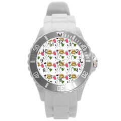 Handmade Pattern With Crazy Flowers Round Plastic Sport Watch (l) by BangZart