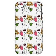 Handmade Pattern With Crazy Flowers Apple Iphone 4/4s Hardshell Case (pc+silicone)
