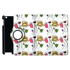 Handmade Pattern With Crazy Flowers Apple Ipad 2 Flip 360 Case