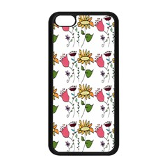 Handmade Pattern With Crazy Flowers Apple Iphone 5c Seamless Case (black)