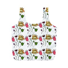 Handmade Pattern With Crazy Flowers Full Print Recycle Bags (m)