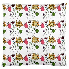 Handmade Pattern With Crazy Flowers Large Flano Cushion Case (two Sides)